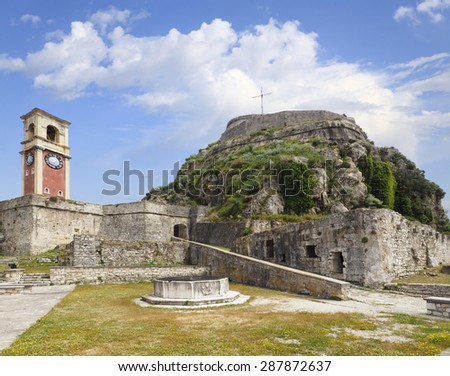 The Old Fort and Clock Tower at Corfu, Greece - stock photo