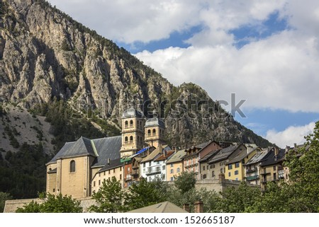 The old fortified city of Briancon in the Provence-Alpes-Cote d'Azur region in southeastern France. At an altitude of 1,326m it is the highest city in the European Union. - stock photo