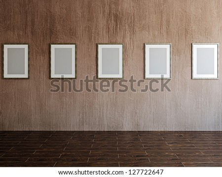 The old gallery with empty wooden frames - stock photo