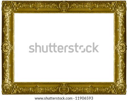 The old gold wooden frame - stock photo