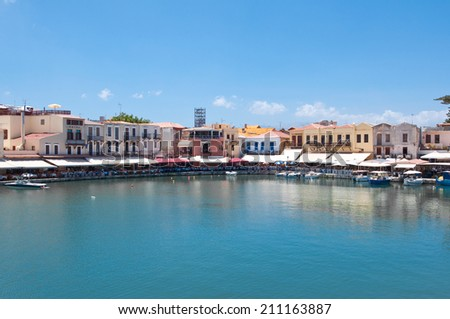 The old harbour. Rethymno city, The Crete island,Greece. - stock photo