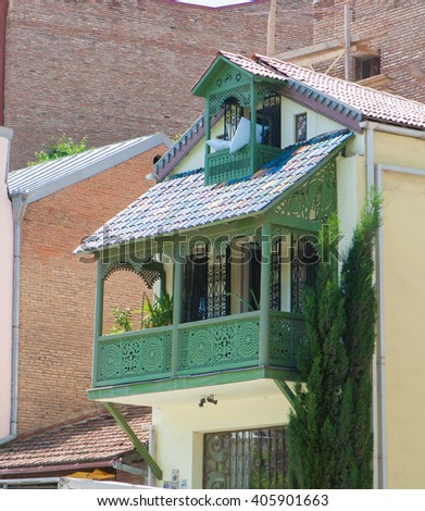 The old house in Tbilisi, Georgia - stock photo