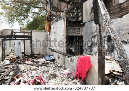 The old house is on fire - stock photo