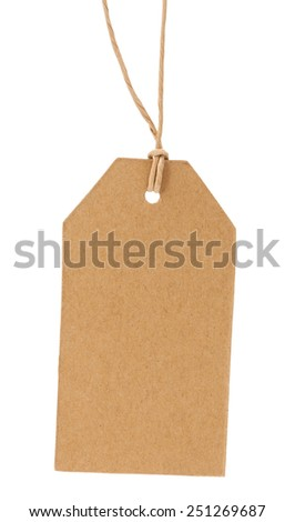 The old label on a rope isolated on a white background - stock photo