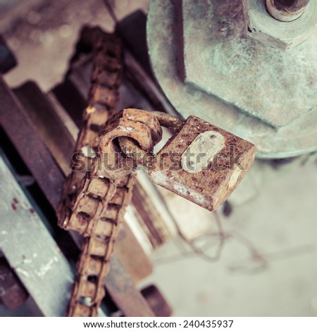 the old lock and the old iron chain, process color - stock photo