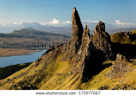 The Old Man of Storr and other rock pinnacles below The Storr, Isle of Skye, Scotland - stock photo