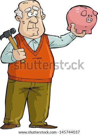 The old man thought of broken piggy bank raster version - stock photo