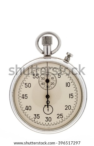 The old manual stopwatch isolated on a white background. - stock photo