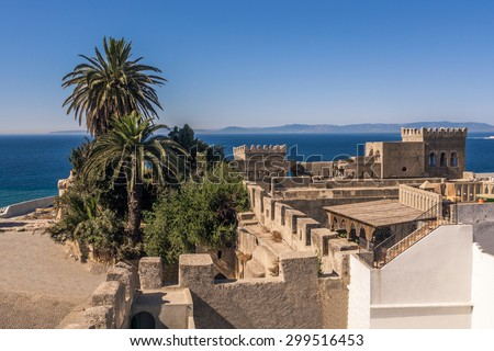 The old medina of Tangier, Morocco, facing the Strait of Gibraltar and the Spanish coast. - stock photo