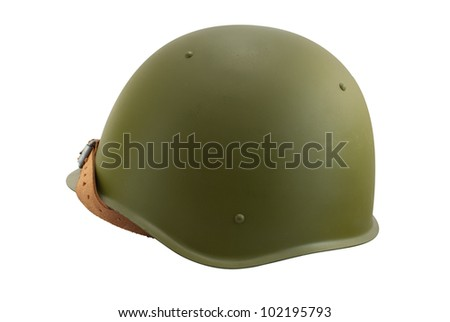 The old military helmet, isolated on white. - stock photo
