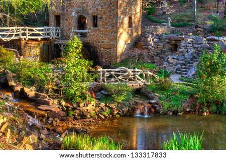 """The Old Mill Replica in N. Little Rock, Arkansas Featured in the 1939 movie """"Gone With the Wind"""" - stock photo"""
