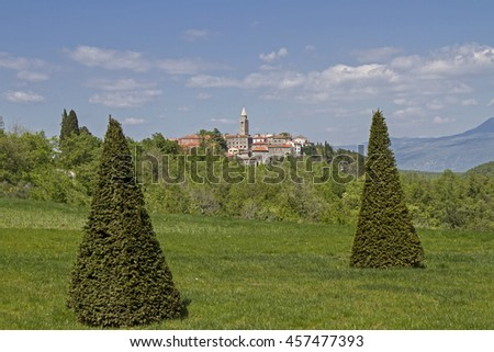 The old mining town of Labin situated on a hill near the Istrian east coast  - stock photo