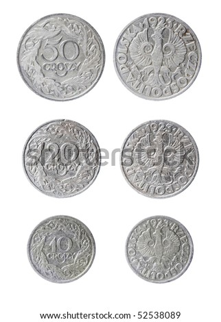 the old nickel polish coins 10 to 50 groszy of 1923 - stock photo