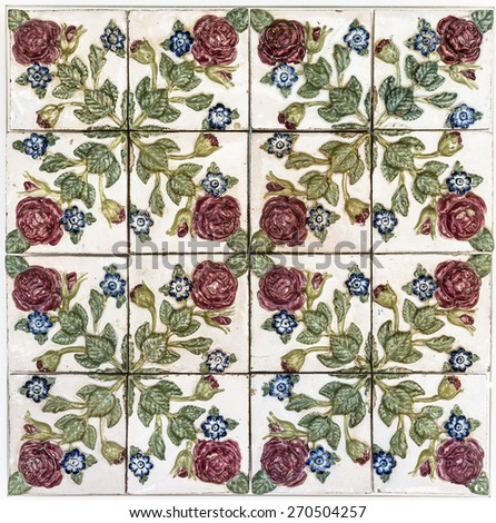 The old original tiles Wall with rose pattern - stock photo