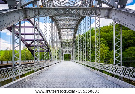The Old Paper Mill Road Bridge over Loch Raven Reservoir in Baltimore, Maryland. - stock photo