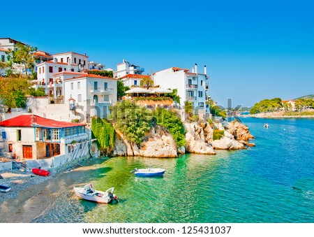the Old part in town of island Skiathos in Greece - stock photo