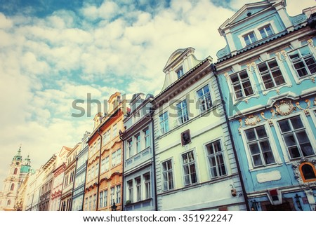 The old part of Prague taken from Charles Bridge, Czech Republic - art photography - stock photo