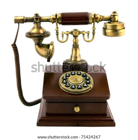 The old phone with disc dials - stock photo