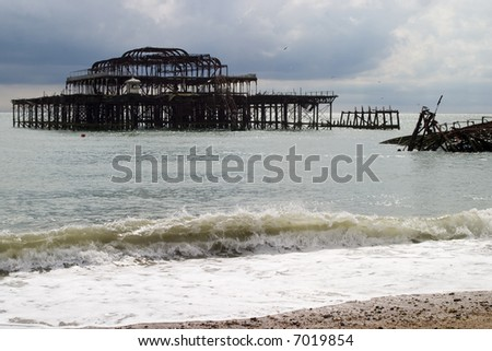 The old pier at Brighton - stock photo