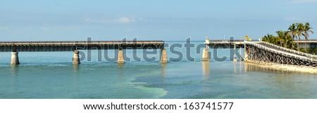The old Railroad Bridge, on the Bahia Honda Key in the Florida keys. - stock photo