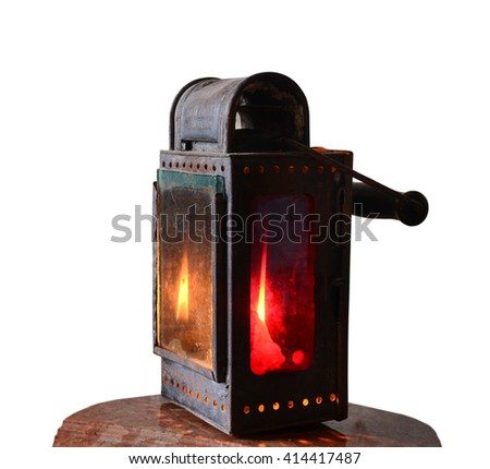 the old railway candle lantern, German, 18th century - stock photo