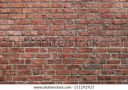 The old red brick wall - stock photo