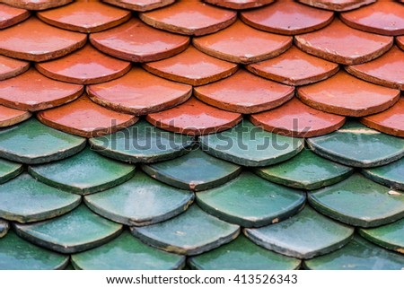 The old roof tiles and ancient - stock photo