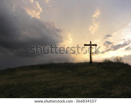 the old rugged cross - stock photo