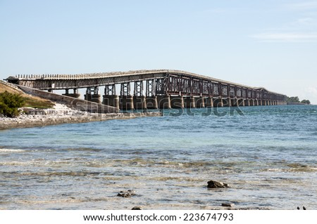 The old seven mile bridge in Florida, USA - stock photo