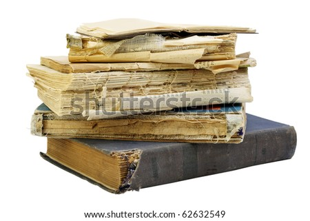 The old shabby dirty  books. Isolated on white, with patch. - stock photo