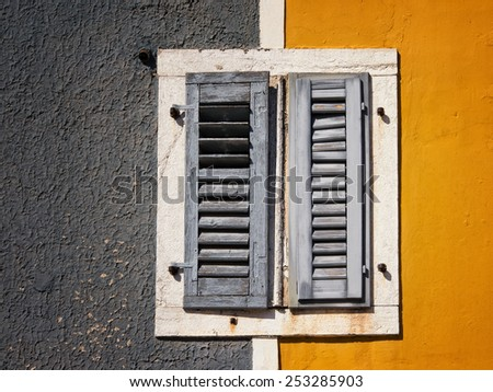 the old shutters are closed  - stock photo