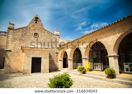 the old small chapel in the Sanctuary of Cura, Mallorca, Spain - stock photo