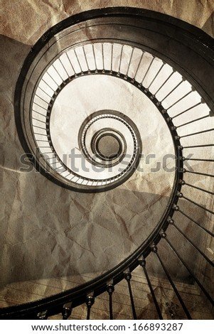 The old spiral staircase - stock photo