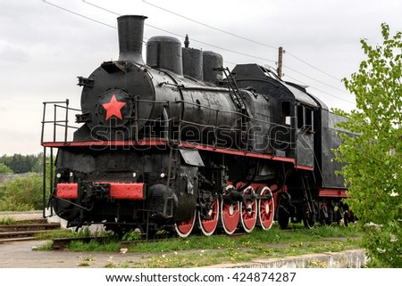 The old steam train - stock photo
