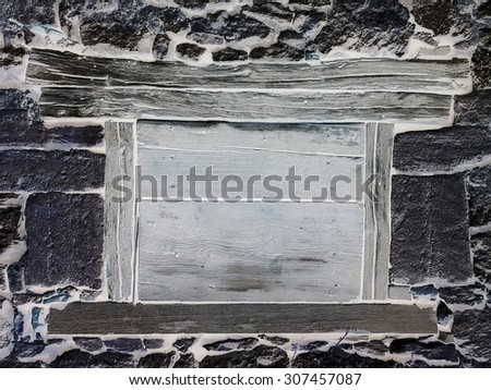The old stone wall with window - stock photo