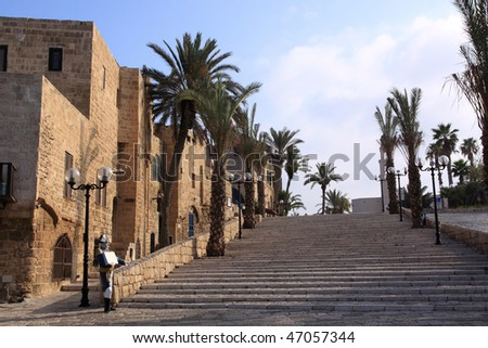 The old streets of Jaffa at early light, Tel Aviv, Israel - stock photo