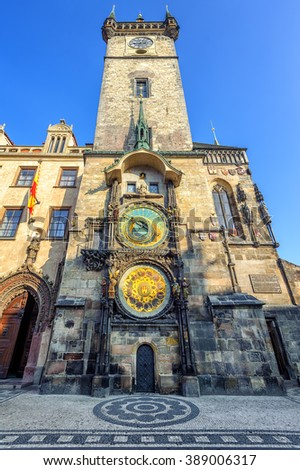 The Old Town Hall Tower with the Horologe, the medieval astronomic clock,  Prague, Czech Republic - stock photo