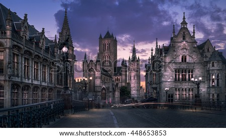The old town of Ghent, Belgium - stock photo