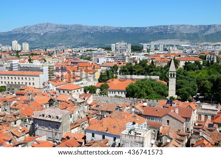 The old town of Split, a location where a popular motion picture was filmed, and a popular cruise destination, in Croatia - stock photo