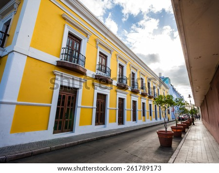 The old town of the city of Ponce in Puerto Rico, United States.  - stock photo