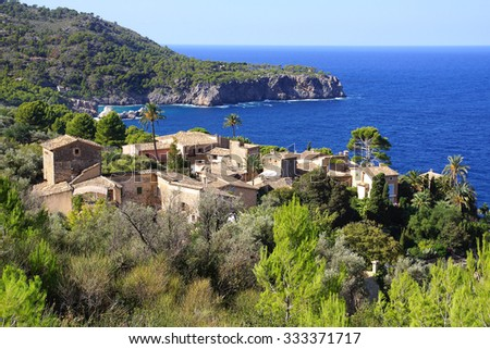 The old town vintage architecture in Llucalcari, Mallorca, Spain.                             - stock photo