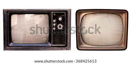 The old TV collection on the isolated white background,  retro vintage television set photo - stock photo