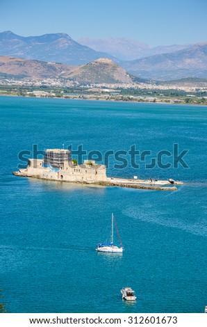 The old Venetian fortress Bourtzi. Nafplio - Greece - stock photo