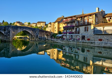 the old village of Nerac in French - stock photo