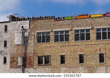 The old vintage brick building in downtown Aurora, Illinois, USA. - stock photo