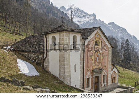 The old Walser village Rima is southeast of the Monte Rosa massifs - stock photo