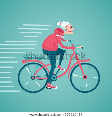 The old woman is  riding a bicycle. Cartoon  illustration. Character design. - stock photo