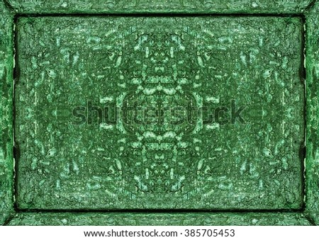 The old wooden board painted green sloppy. - stock photo