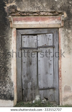 The Old wooden Cracked Door, Background - stock photo