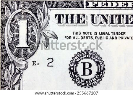 The one dollars isolated on white background. - stock photo